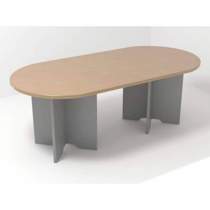 Mesa de reunião  Mod. GRAVON. Oval. Vários acabamentos. Pernas cruzadas.