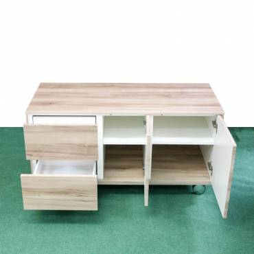 Mueble Bajo con Ruedas Roble
