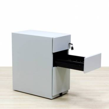 Cajonera metalica movil de dos cajones y archivo color gris
