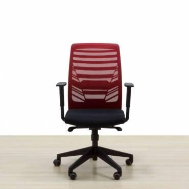 Silla Operativa asiento negro respaldo malla roja