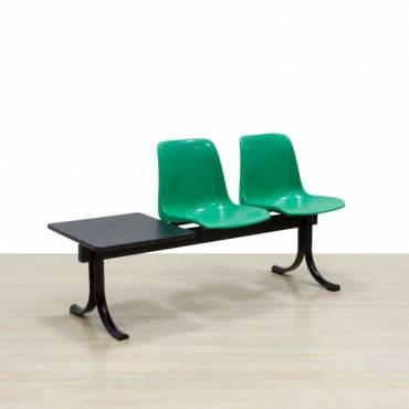 Bancada Mod. SIT con mesa, Dos asientos de color Verde, Estructura de acero.