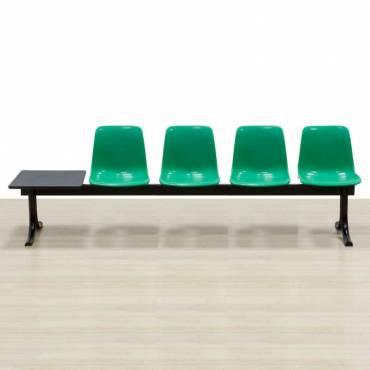 Bancada Mod. SIT con mesa, Cuatro asientos de color Verde, Estructura de acero.