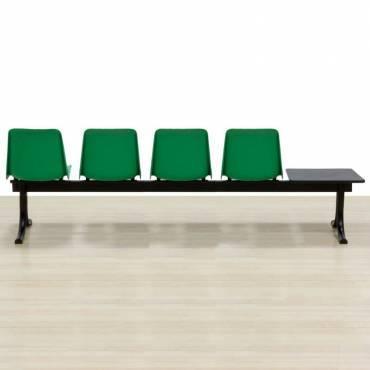 Banco Mod. SIT com mesa, quatro assentos na cor verde, estrutura de aço.