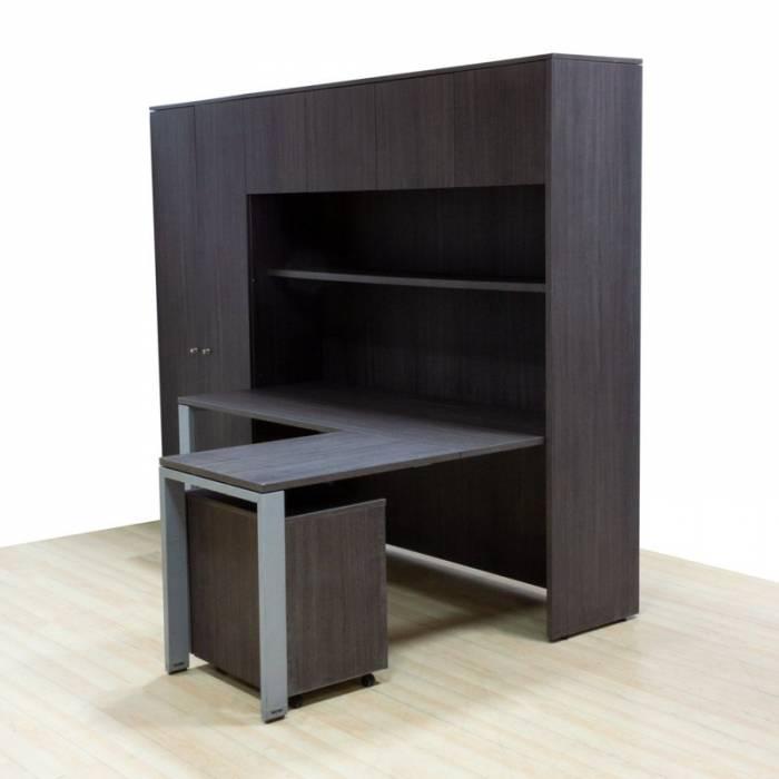 Conjunto de Trabalho Mod. REYNO WENGUE, mesa de Trabalho com asa, cômoda, armário alto, mezanino e prateleira.