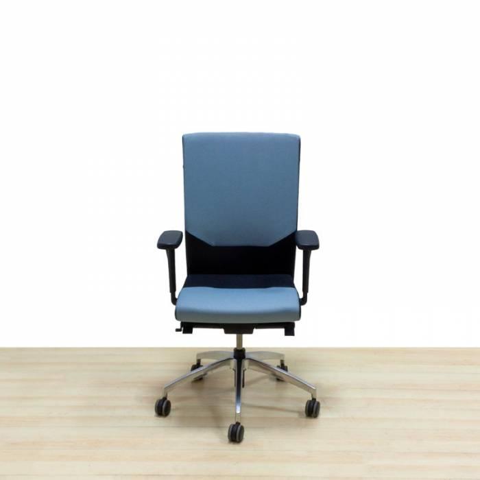 Cadeira de trabalho Mod. TADES, assento estofado e encosto em tecido bicolor à escolha.