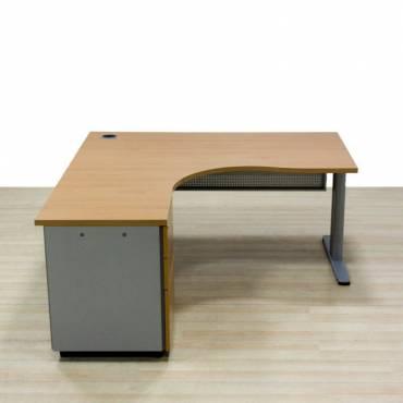 Mesa Operativa con Cajonera Mod. GORBAR, fabricada en madera acabado Haya. Sin Faldón